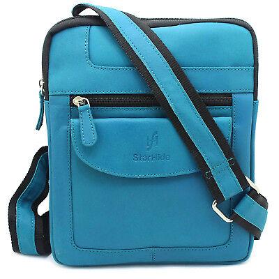 Starhide Unisex Real Leather Cross Body Travel Messenger Ipad bag 505 Turquoise