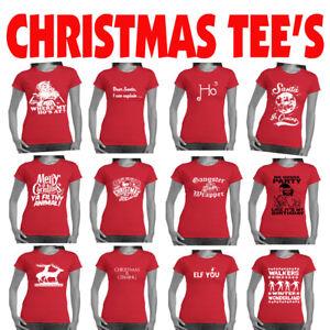 Christmas-women-039-s-T-Shirts-Xmas-tee-039-s-Funny-T-shirt-offensive-Ladies-tshirts