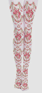 9a654d9cba8 Image is loading Victoriana-Rose-Garland-Design-Opaque-Tights-Lolita- Steampunk-