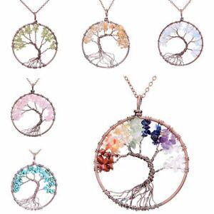 Kupfer-Legierung-Kette-Kristall-Naturstein-Anhaenger-Baum-Des-Lebens-Halskette