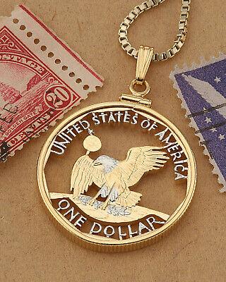 14k and Rhodium Plated Kennedy Half Dollar Hand Cut American Eagle Pendant