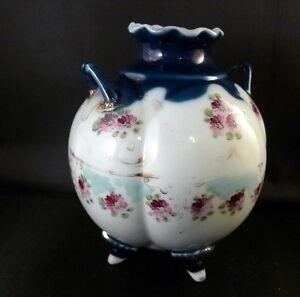 Hand Painted Vintage Vase Floral Double Handle Cobalt Blue 4 Leg Porcelain China