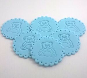 6-BLUE-BABY-BOY-BEAR-Edible-Cake-Cupcake-Decorations-Toppers-Shower-Christening