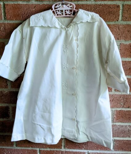 Antique Victorian Shirt White Blouse Embroidered … - image 1