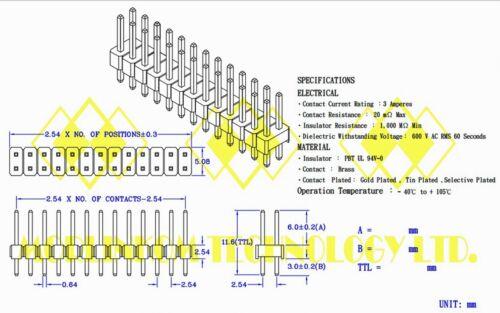 25pc Gold plated Dual Row 2x25P 2x25 2.54mm H=11.6mm Male Pin Header RoHS 90-50