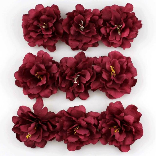 20pcs 8cm Red Artificial Silk Orchid Dendrobium Flower Heads Petals Decor