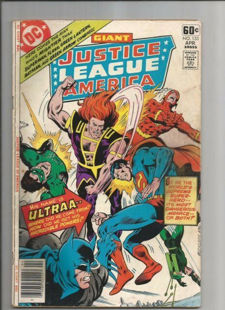 JUSTICE LEAGUE OF AMERICA #153 GIANT VG  OW/WHITE PAGES DC BRONZE AGE COMIC 1978