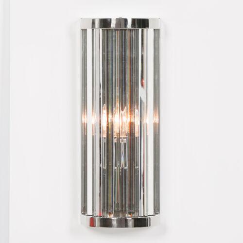 Kunst Deko Chrom Ausführung Geriffelt Säule Glas Stangen Wandlicht 3 Größen IN