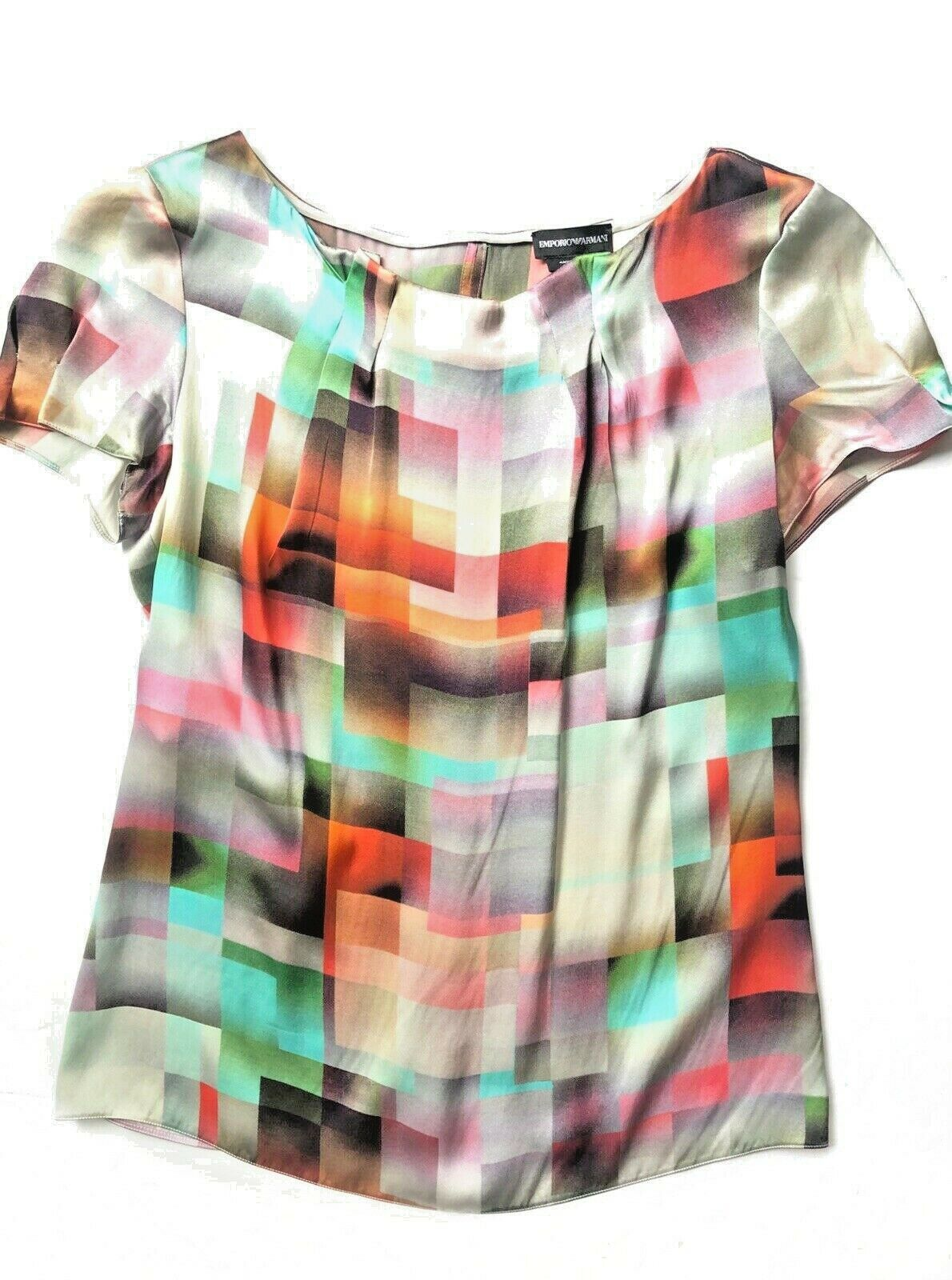 Armani Silk Short Sleeve Geometric Multi Farbe Blouse Größe 40 Small Bateau Neck