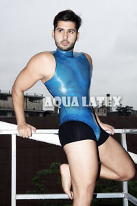 7bded4fc5c00 Image is loading Men-Leotard-Style-Bodysuit-Turtle-Neck-Rubber-Latex-