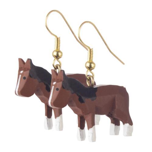 """Ohrhänger /""""caballo/"""" nuevo Erzgebirge pares de pendientes Ángel artesanía popular Modern madera animal"""