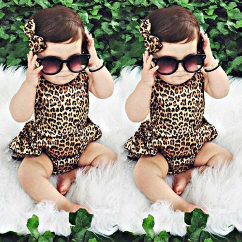 Newborn kids Leopard Print Romper Infant Baby Girls backless Floral Romper  SA