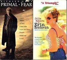 Primal Fear (VHS, 1996) & Erin Brockovich (VHS, 2000) - 2 Mystery Dramas VHS