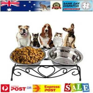 Double-Bowl-Dog-Cat-Feeder-Elevated-Raised-Stand-Feeding-Food-Water-Pet-Dish-AU