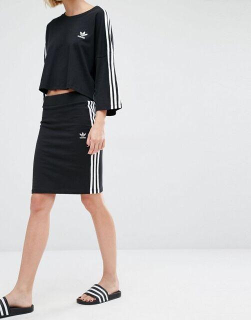 e718801089 Adidas Originals W 3 Stripe Classic Black Midi Skirt Size UK 6, 8 ...
