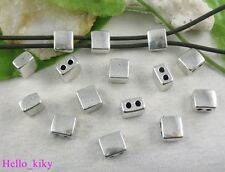 30 pcs Tibetan silver square spacer beads 2 holes A8640