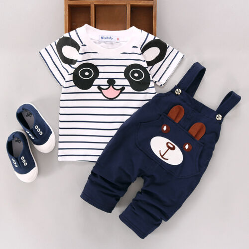 Cute 2PCS Newborn Baby Boy Girls T-shirt Tops+Pants Overalls Outfits Clothes Set