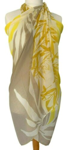 Yellow Sarong Mustard Beige Floral Beach Skirt Cover Up Ladies Flower Print Wrap