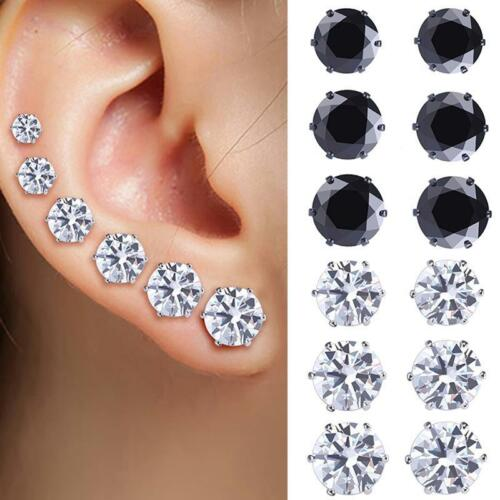 6 Paires//Set rondes en acier inoxydable zircon cristal Ear Studs boucle d/'oreille Bijoux FV