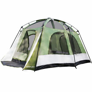 Tahoe-Gear-Jasper-7-Person-Family-Cabin-Dome-Outdoor-Camping-Tent-Green-White