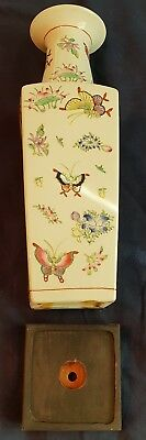 """Hong Kong Rare Distinctive For Its Traditional Properties Industrious Chinese Porcelain Vase & Wood Stand 18 3/4"""" Butterflies A.c.f Asian Antiques"""