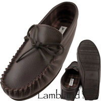 Mens / Ladies Moccasin Slipper with Leather Upper and Cotton Lining
