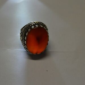 Yemeni-natural-authentic-Kabdi-agate-aqeeq-aqiq-stone-silver-ring-men