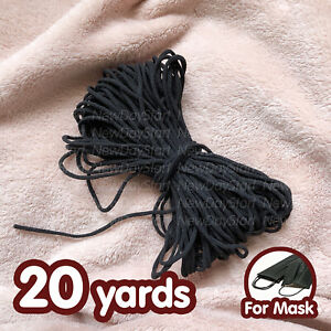 Black 1 8 Inch Soft Round Elastic Cord Band For Diy Face Mask 20 Yards Ebay