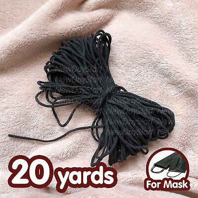 Black 1 8 Inch Soft Round Elastic Cord Band For Diy Face Mask 20