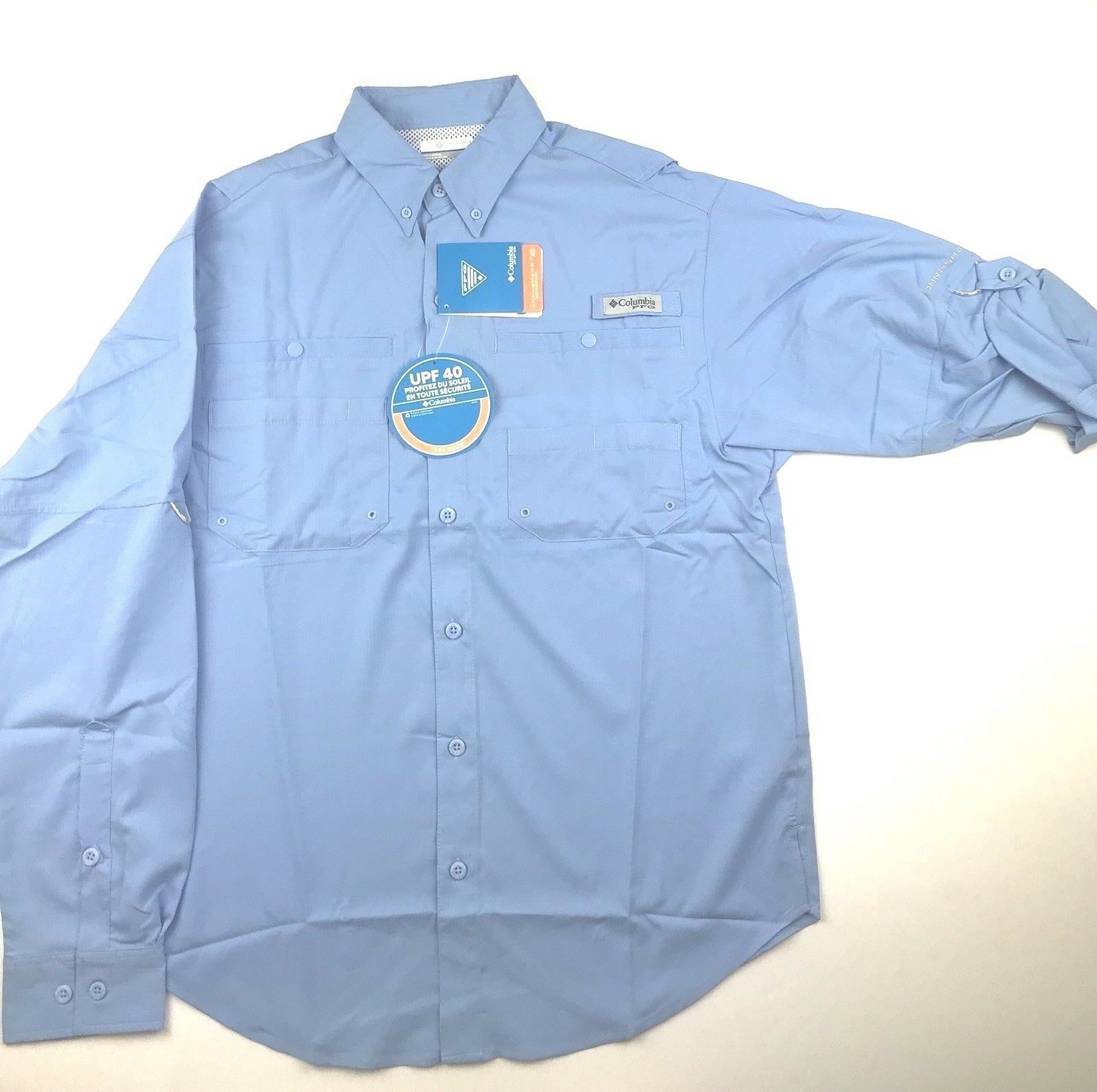 Columbia PFG Mens Small Tamiami ll bluee Roll Up Long Sleeve Button Shirt NWT