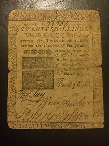 1757-Twenty-20-Shillings-Pennsylvania-Colonial-Currency-Benjamin-Franklin-D-Hall