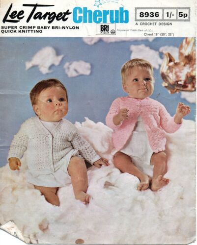 "Lee objetivo 893 Vintage Baby Crochet Patrón qk//dk 18-22 /""Cardigans"