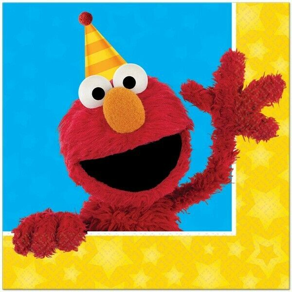 Sesame Street Elmo Party Supplies Lunch Napkins 16 Pack Birthday Tableware