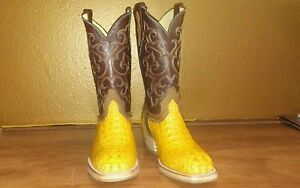 6269a8cbd84 Details about Mens Cowboy boots Horn back Caiman Alligator Exotic Square  toe cognac 9 EE