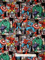 Marvel Super Hero Fabric - Hulk Thor Spiderman Capt America Comic CP57571 - Yard
