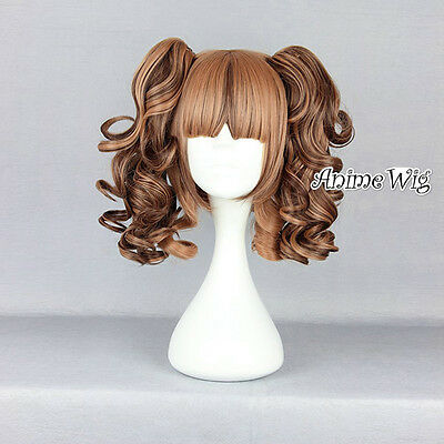 Lolita Brown Short 35CM Curly Fashion Party Women Cosplay Wig + Ponytails