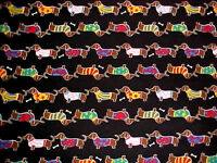 Dachshund Dog Fabric Doxies In Sweaters Weiner Puppy Cotton 1/2 Yard