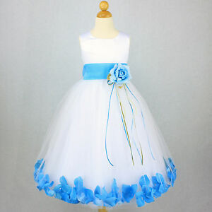 dff414cfc2b Image is loading WHITE-TURQUOISE-Flower-Girl-Dress-Petals-Dance-Birthday-