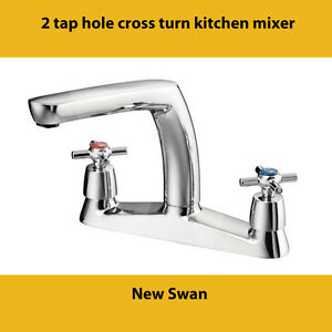 2 tap hole cross turn kitchen mixer chrome plated swan ebay