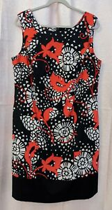 Alyx-Women-s-Black-Red-and-White-Floral-Abstract-Print-Sheath-Dress-Size-16W
