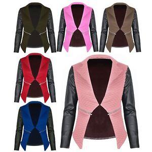 New-Womens-Ladies-Quilted-PVC-Long-Sleeves-Zip-Blazer-Top-Waterfall-Jacket-Coat