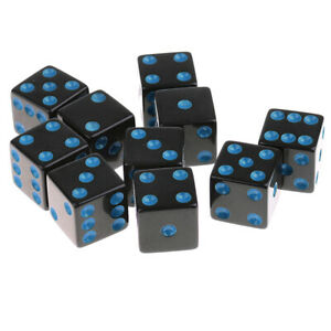 10pcs//pack Six Sided Opaque D6 16mm Standard Dice Double Color Gold Pip