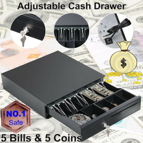 Heavy Duty Cash Till Drawer With 5 Bills 5 Coins Tray Removable Insert 12V 2018