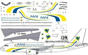 Myanmar Air International Airbus A-320 Pointerdog7 decals for Revell 1/144 kit