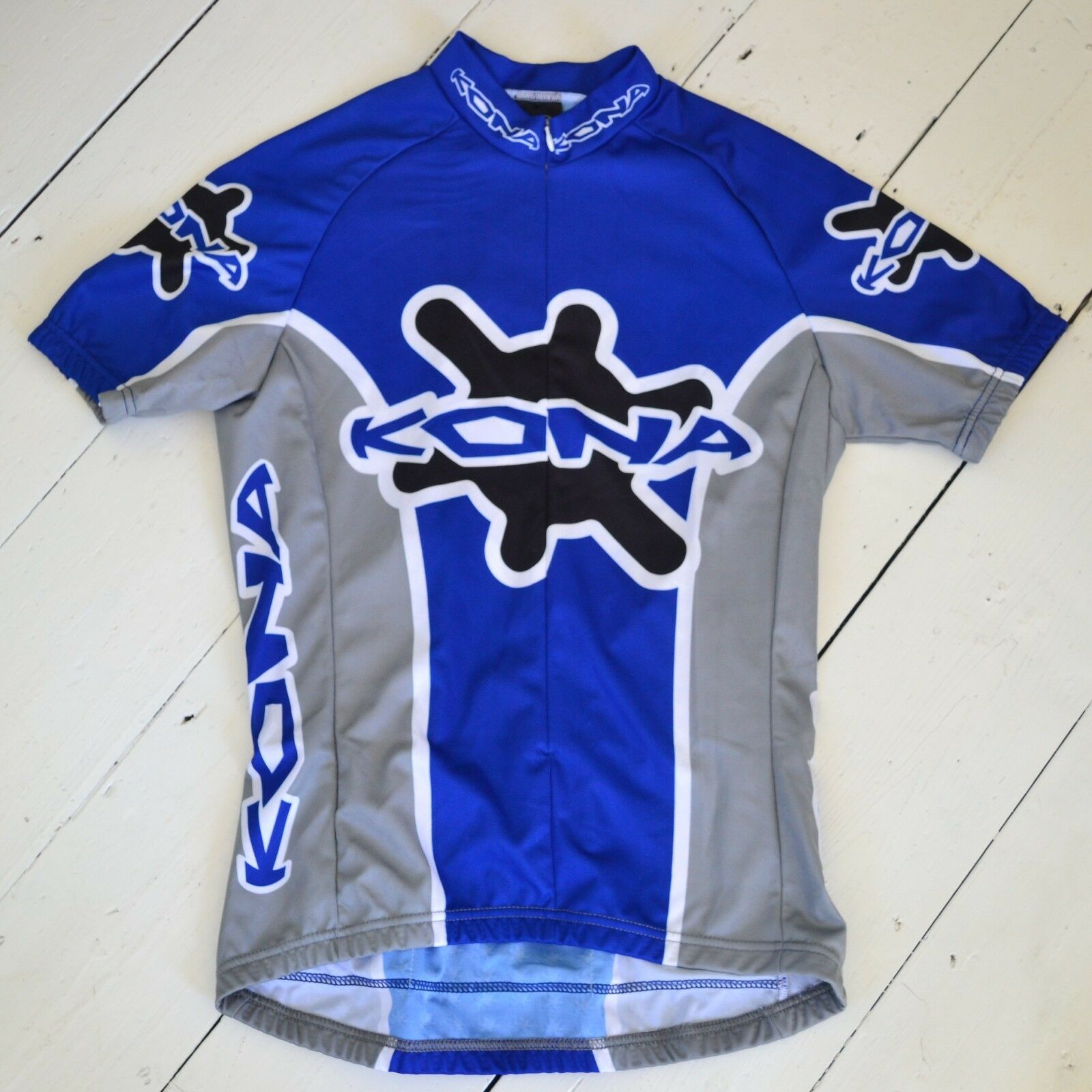 Rare retro vintage bluee and grey Kona  bicycles women's S S large cycling jersey  quality guaranteed
