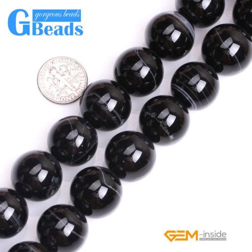 "Natural Black Stripe Agate Onyx Gemstone Round Beads Free Shipping Strand 15/"""