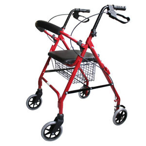 Red-Aluminum-Foldable-Rollator-Walking-Frame-Outdoor-Walker-Aids-Mobility