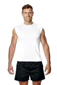 Para-Hombre-Camiseta-sin-mangas-Chaleco-Top-Deportes-Gimnasio-Capa-Base-Camisa-Blanca-Negra
