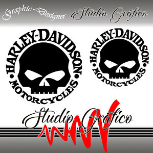 Details About 2 Stickers Decal Stickers Harley Davidson Skull X Tank Custom Bike