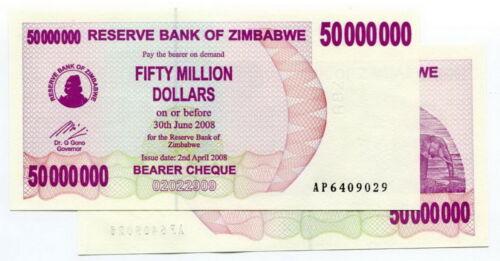 50 MILLION DOLAR ZIMBABWE p 57 2008 P57, UNC